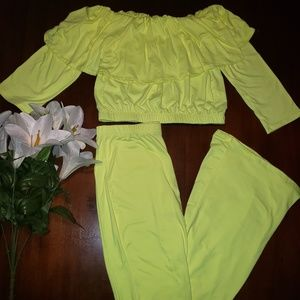 Other - 💛Neon Off Shoulder Ruffle Set💛